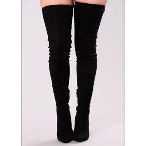 Fashion Nova Shoes - NWT Fashion Nova Black Vicky Over the Knee Boot